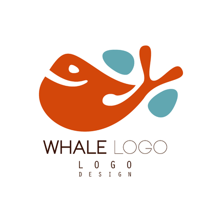 Whale design, creative badge can be used for brand identity, travel agency, shipping company, seafood market, pool vector Illustration Illustration