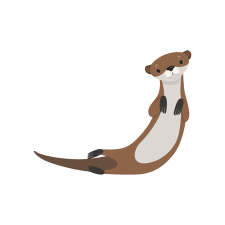 Cute lovely otter animal character vector Illustration isolated on a white background. Illustration
