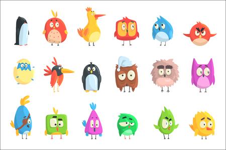 Pequeña colección de pollitos de pájaro lindo de personajes de dibujos animados en formas geométricas, estilizados lindos animales bebé. Pájaros de juguete fantásticos aislados coloridas etiquetas engomadas del vector.