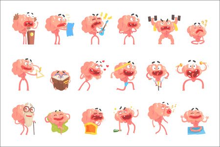 Humanized Brain Cartoon Character With Arms And Legs Funny Life Scenes And Emotions Set Of Illustrations. Thinking Human Organ Stylized Vector Illustrations With His Leisure And Recreation. Illustration
