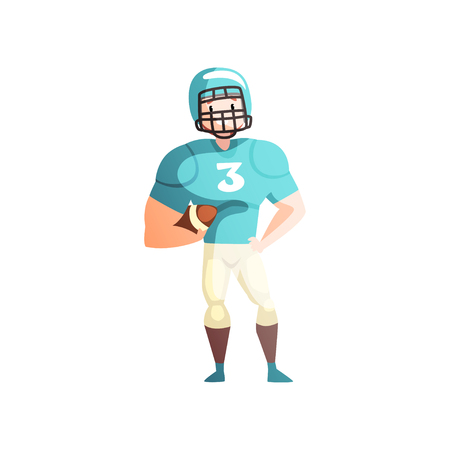 American football player, male sportsman character in uniform, active healthy lifestyle vector Illustration isolated on a white background.