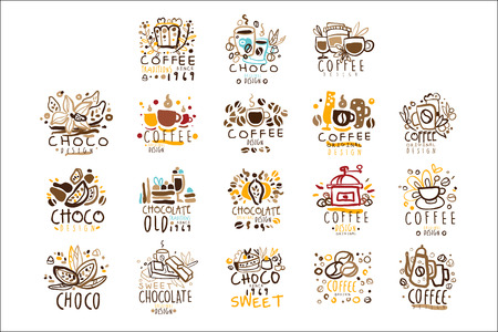 Chocolate Traditions Colorful Graphic Design Template  Series,Hand Drawn Vector Stencils. Artistic Promo Posters With Funky Font And Fun Design Elements.