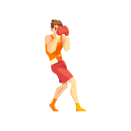 Male boxer character training with red boxing gloves, active sport lifestyle vector Illustration isolated on a white background.  イラスト・ベクター素材