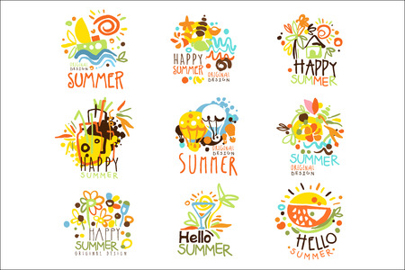 Happy Summer Vacation Sunny Colorful Graphic Design Template Set, Hand Drawn Vector Stencils 向量圖像
