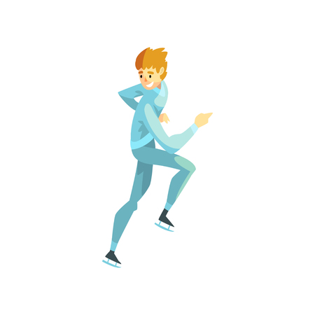 Short track speed male skater, man athlete character in sportswear, active sport lifestyle vector Illustration on a white background