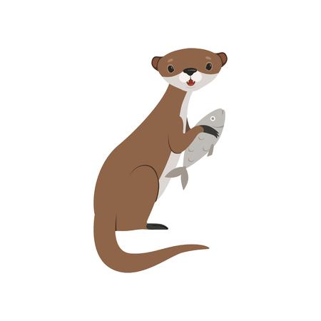 Lontra carina che tiene il pesce, vettore di carattere animale divertente illustrazione isolato su sfondo bianco.