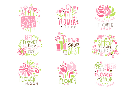 Flower Shop Green And Pink Colorful Graphic Design Template Set, Hand Drawn Vector Stencils Illustration