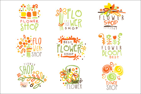 Flower Shop Red Yellow And Green Colorful Graphic Design Template Set, Hand Drawn Vector Stencils Ilustrace