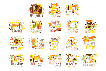 Happy Teachers Day Colorful Graphic Design Template Set ,Hand Drawn Vector Stencils