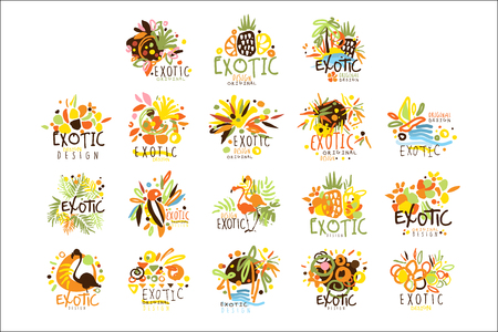 Exotic Summer Vacation Colorful Graphic Design Template Series,Hand Drawn Vector Stencils Фото со стока - 107042434