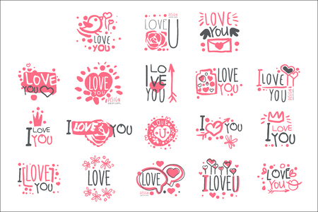 Romantic I Love You Message For St Valentines Day Postcard, Colorful Graphic Design Template Set, Hand Drawn Vector Stencils