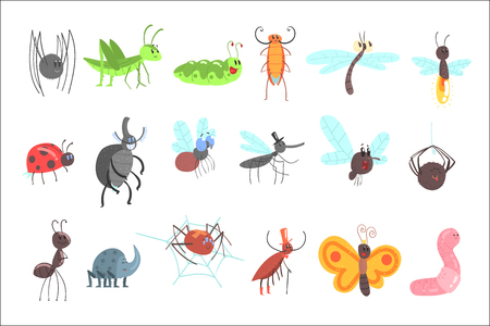 Cute Friendly Insects Set With Cartoon Bugs, Beetles, Flies, Spiders And Other Small Animals Stock Vector - 107042436