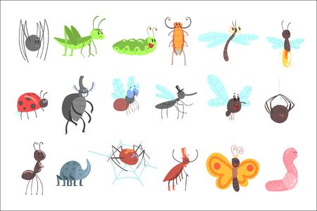 Lindos insectos amigables con bichos de dibujos animados, escarabajos, moscas, arañas y otros animales pequeños Ilustración de vector