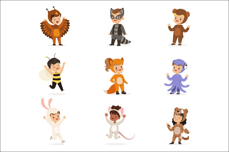 Kinds In Animal Costume Disguise Happy And Ready For Halloween Masquerade Party Set Of Cute Disguised Infants. Smiling Children Dressed As Wildlife And Insects Vector Cartoon Illustrations. Stock Vector - 111655225