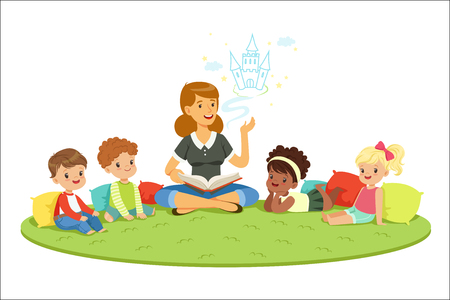 Studenti elementari e insegnante. Educazione e educazione dei bambini all'asilo. Cartoon dettagliate illustrazioni colorate isolate su sfondo bianco