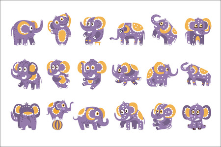 Stylized Elephant With Polka-Dotted Pattern Set Of Childish Stickers Or Prints Of Friendly Toy Animal In Violet And Yellow Color. Childish Cartoon Vector Icons With African Fauna Animal Isolated On White Background.