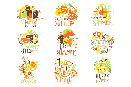 Happy Summer Vacation Sunny Colorful Graphic Design Template Series, Hand Drawn Vector Stencils