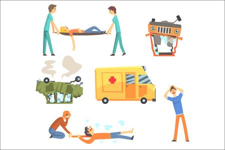 Accidente de tráfico que resulta en daños a la salud de las personas y ambulancia ayudando a las víctimas Conjunto de ilustraciones de dibujos animados estilizados. Médicos y peatones en escena de aplastamiento de coche ayudando a los supervivientes.