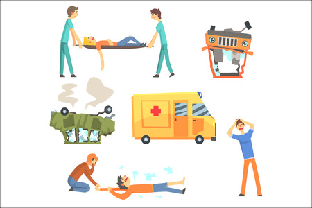 Car Road Accident Resulting In People Health Damage And Ambulance Helping The Victims Set Of Stylized Cartoon Illustrations. Doctors And Pedestrians On Car Crush Scene Helping Survivors. Illustration