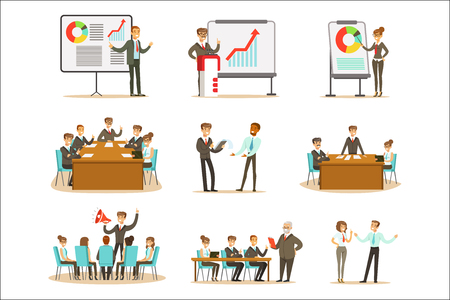 Managers And Office Workers On Business Training Class, Developing Marketing And Business Management Skills And Knowledge Collection. Smiling Cartoon Characters In Professional Development Seminar Studying Finance And Managing.