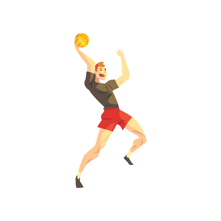 Male basketball player, sportsman character playing with ball, active sport lifestyle vector Illustration isolated on a white background.