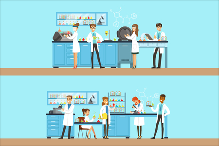 Chemists In The Chemical Research Laboratory Doing Experiments And Running Chemical Tests. Busy Scientists In Lab Coats In Institute Lab Set Of Two Cartoon Illustrations. Illustration