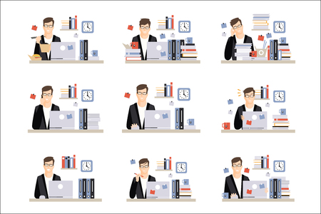 Male Office Worker Daily Work Scenes With Different Emotions, Set Of Illustrations Of Busy Day At The Office. Vector Minimalistic Icons With Working Person Sitting At The Desk With Laptop. Vector Illustratie