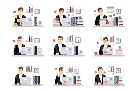 Scènes de travail quotidien d'un employé de bureau masculin avec différentes émotions, ensemble d'illustrations d'une journée bien remplie au bureau. Icônes minimalistes vectorielles avec une personne qui travaille assise au bureau avec un ordinateur portable. Vecteurs