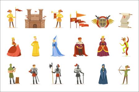 Personaggi dei cartoni animati medievali e attributi del periodo storico del Medioevo europeo Set di icone