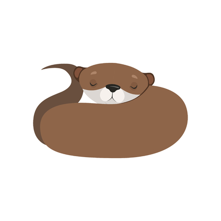 Cute otter sleeping, lovely animal character vector Illustration isolated on a white background. Иллюстрация
