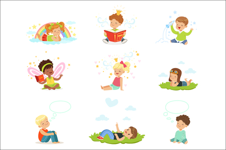Happy and lovely children play and dream. Cartoon detailed colorful Illustrations isolated on white background Çizim