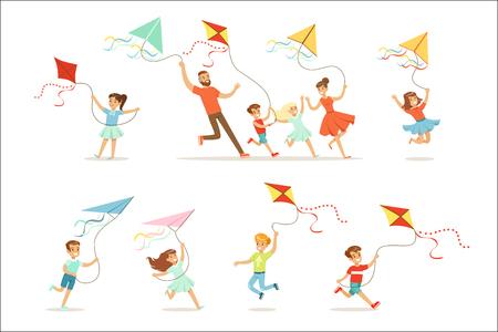 Bambini e genitori che corrono con l'aquilone felici e sorridenti. Cartoon dettagliate illustrazioni colorate isolate su sfondo bianco