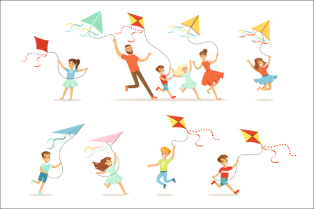Kids and their parents running with kite happy and smiling. Cartoon detailed colorful Illustrations isolated on white background