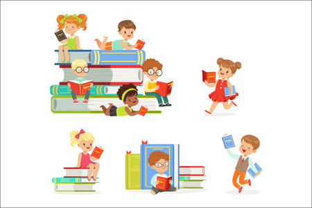 Kids Reading Books And Enjoying Literature Set Of Cute Boys And Girls Loving To Read Sitting And Laying Surrounded With Piles Of Books.Clever Children Readers, Storybooks And Textbooks Cartoon Scenes. Illustration