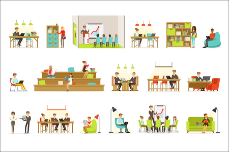 Coworking Workplace, Freelancers Sharing Space And Ideas In Office Where They Work Together Set Of Illustrations. Office Workers And Freelance Employees Together In Modern Co-Working Space. 일러스트