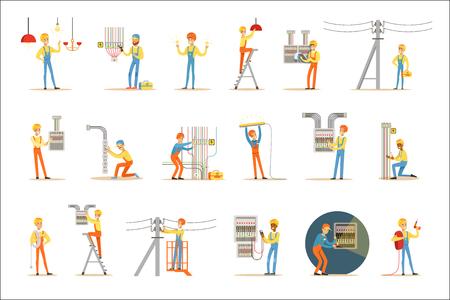 Electricista en uniforme y casco trabajando con cables y alambres eléctricos, solución de problemas de electricidad en interiores y exteriores conjunto de ilustraciones