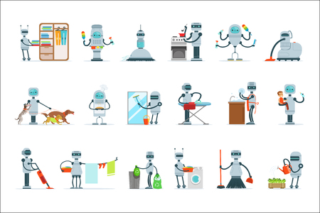 Housekeeping Household Robot Doing Home Cleanup And Other Duties Set Of Futuristic Illustration With Servant Android Vettoriali