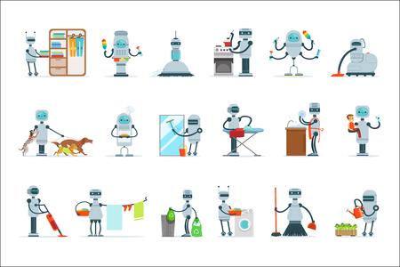 Robot domestico di pulizie che fa pulizia domestica e altri doveri Set di illustrazione futuristica con servo Android Vettoriali