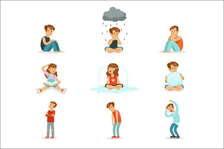 Negatywne emocje dzieci, wyrażanie różnych nastrojów. Kreskówka szczegółowe kolorowe ilustracje na białym tle