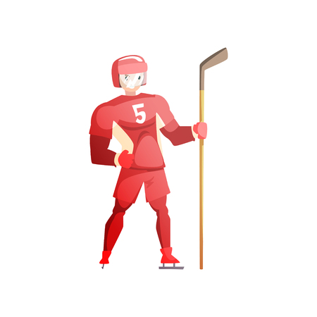 Ice hockey player, male athlete character in red uniform, active sport lifestyle vector Illustration isolated on a white background.
