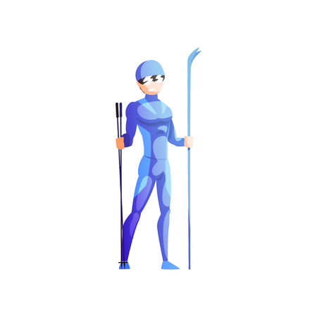 Skier sportsman, male athlete character in sportswear standing with skis, active sport lifestyle vector Illustration isolated on a white background.