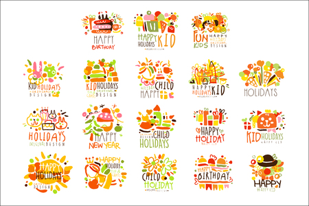 Happy Kid Holiday Colorful Graphic Design Template Series,Hand Drawn Vector Stencils Illustration