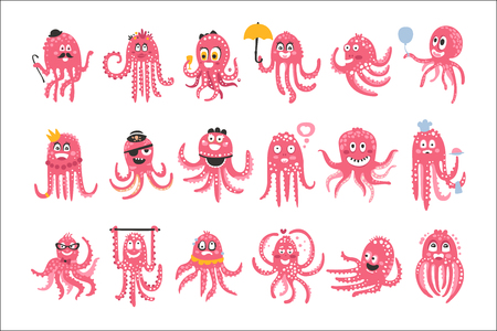 Octopus Emoticon Icons With Funny Cute Cartoon Marine Animal Characters In Different Disguises At The Party. Pink Underwater Creatures With Tentacles Stylized Set Of Vector Drawings. Illustration