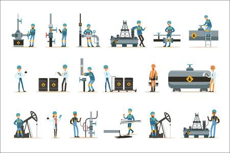 Glückliche Menschen, die in der Ölindustrie arbeiten Satz von Comic-Figuren, die an der Pipeline und Erdölförderungsmaschinen arbeiten. Industrielles Öl-Bohrloch und seine Arbeiter-Vektor-Illustrationen mit Raffinerie-Ausrüstung.