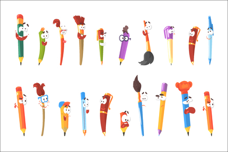 Smiling Pen, Pencils And Brushes, Set Of Animated Stationary Cartoon Characters Isolated Colorful Stickers. Writing And Drawing Tools Alive Funny Illustrations In Childish Bright Cool Style. Vectores