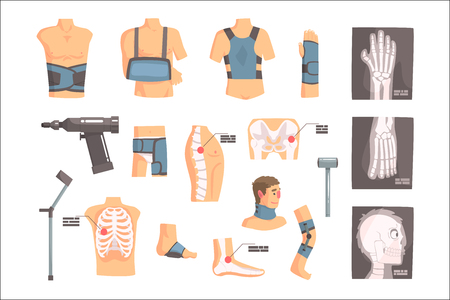 Orthopedic Surgery And Orthopaedics Attributes And Tools Set Of Cartoon Icons With Bandages, X-rays And Other Medical Objects. Vector Infographic Collection Of Orthopedist Doctor Work Associations.