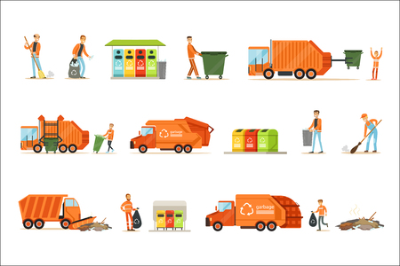 Garbage Collector At Work Set Of Illustrations With Smiling Recycling And Waste Collecting Worker. Street Cleaning And Trash Disposal Themed Drawings With Special Vehicle For Recyclables. Stock Illustratie