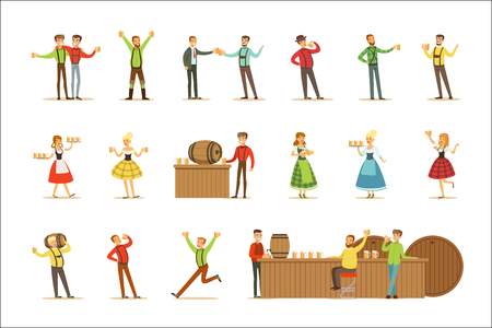 Oktoberfest Beer Festival Scenes With People In Bavarian Traditional Costumes Drinking Beer And Having Fun Set. Man And Women At German Alcohol Celebration With Pints And Beer Mugs Smiling. Illustration