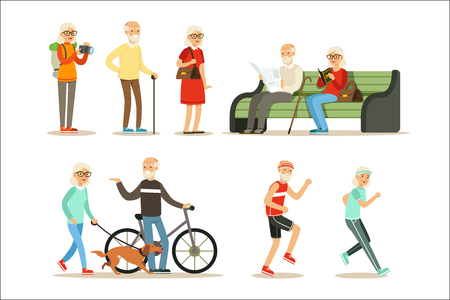 Old People Living Full Live And Enjoying Their Hobbies And Leisure Collection Of Smiling Elderly Cartoon Characters. Happy Grandparents Scenes With Grandpa And Granma Having Fun.