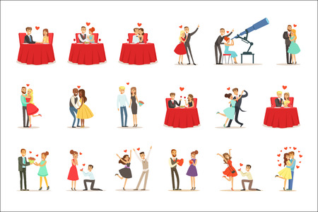 Couples In Love Romantic St. Valentine s Day Date, Lovers And Romance Set Of Vector Illustrations. Cute Cartoon Characters Loving Each Other Going Out To Celebrate Special Occasion..